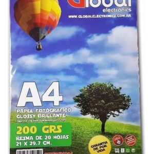 PAPEL FOTOGRAFICO GLOBAL A4 BRILLANTE 200GR X 20 HOJAS