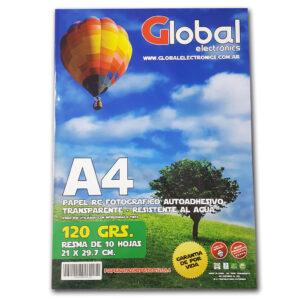 PAPEL FOTOGRAFICO GLOBAL A4 AUTOADHESIVO TRANSPARENTE 120GR X 10 HOJAS