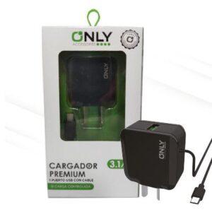 CARGADOR 220V ONLY MOD02 – 1 USB C/ CABLE V8 – NEGRO