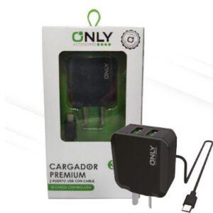 CARGADOR 220V ONLY MOD02 – 2 USB C/ CABLE V8 – NEGRO