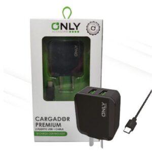 CARGADOR 220V ONLY MOD02 – 2 USB + CABLE V8 – NEGRO