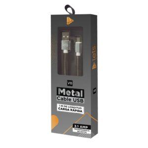 CABLE USB MOD10 – METALICO – V8 – PLATA