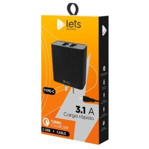 CARGADOR 220V LETS MOD05 – 2 USB + CABLE TC – NEGRO