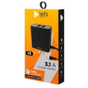 CARGADOR 220V LETS MOD05 – 2 USB C/ CABLE V8 – NEGRO