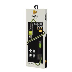 CABLE USB MOD 31 – TEXTIL – TIPO C – VERDE