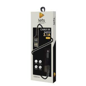 CABLE USB MOD 31 – TEXTIL – TIPO C – NEGRO