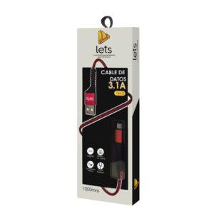 CABLE USB MOD 31 – TEXTIL – TIPO C – ROJO