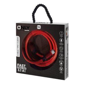 CABLE USB MOD09 – CUERO – TIPO C – 3.1 Amp ROJO