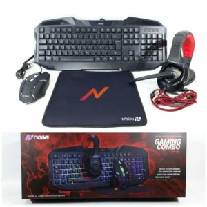 COMBO TECLADO + MOUSE + AURICULARES + PAD MOUSE GAMER USB NOGA NKB-403