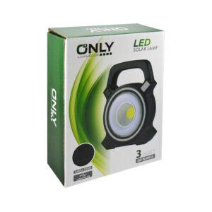 LINTERNA LED -ONLY- CON PANEL SOLAR USB  3W FRIA